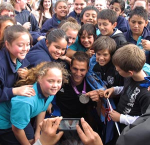Olympian Blair Tuke is mobbed by fans