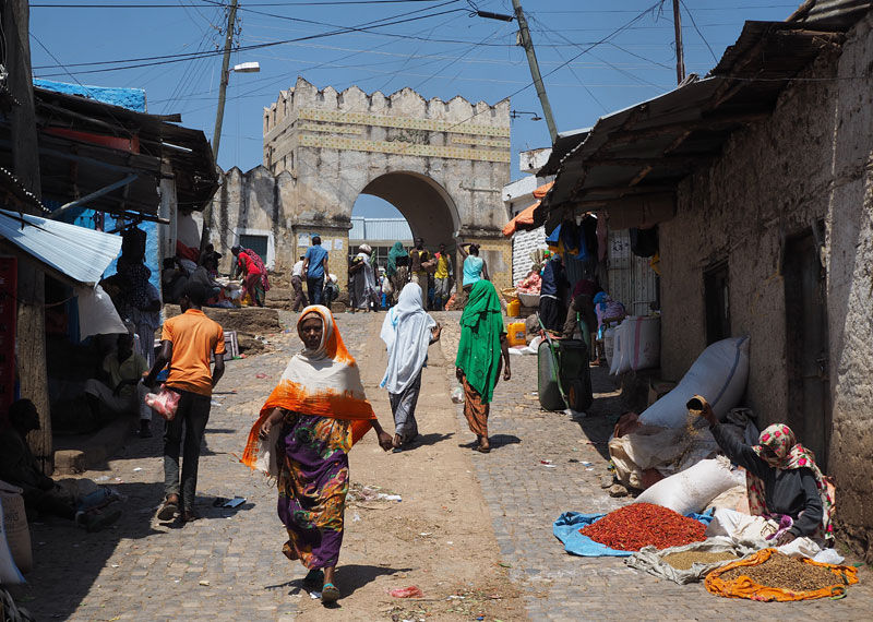 Street scene at Shoa Gate in Harar, eastern Ethiopia.