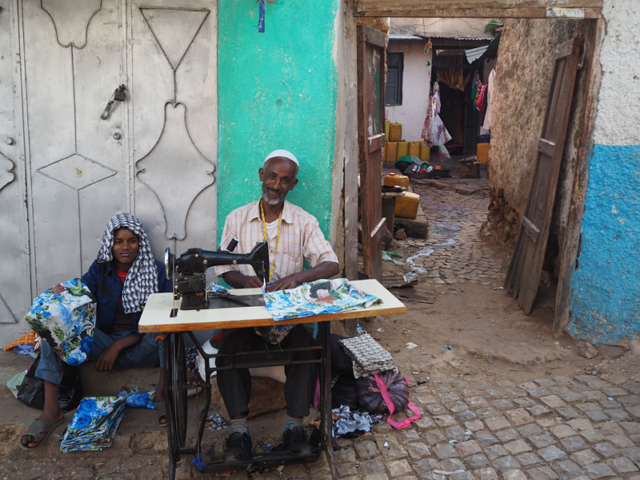 A tailor at work in Harar's old town.