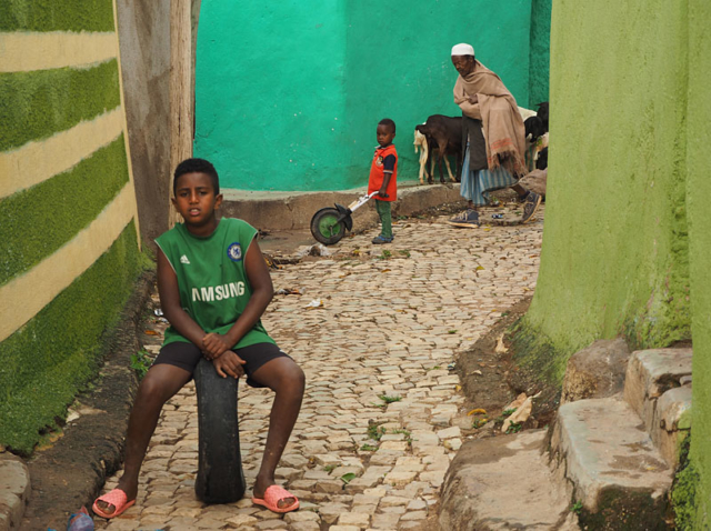 A street scene in the Jugol (old town) of Harar.