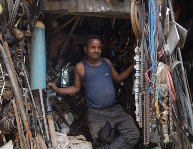 A scrap metal trader in Harar's lively recycling market.