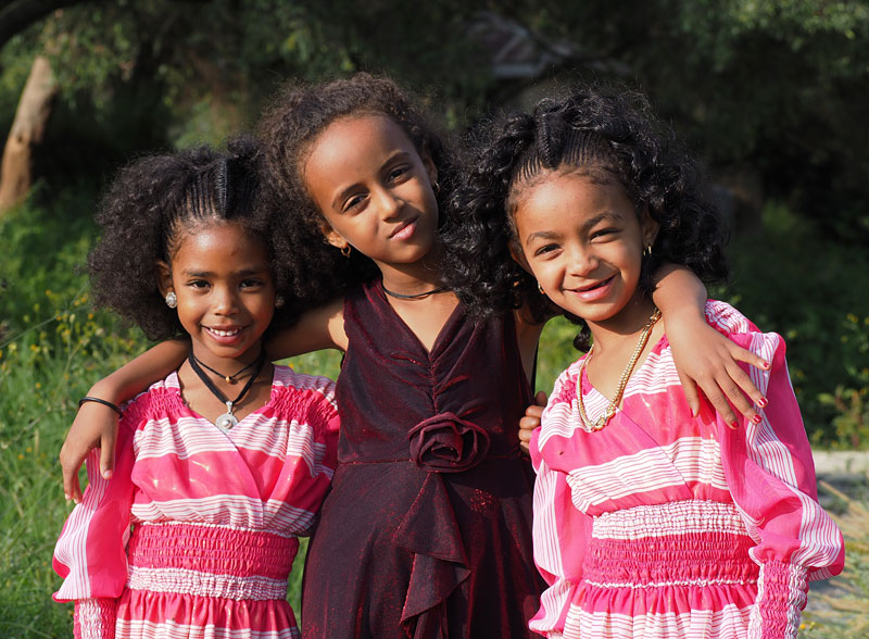 Young girls dressed for a wedding in Axum, northern Ethiopia.