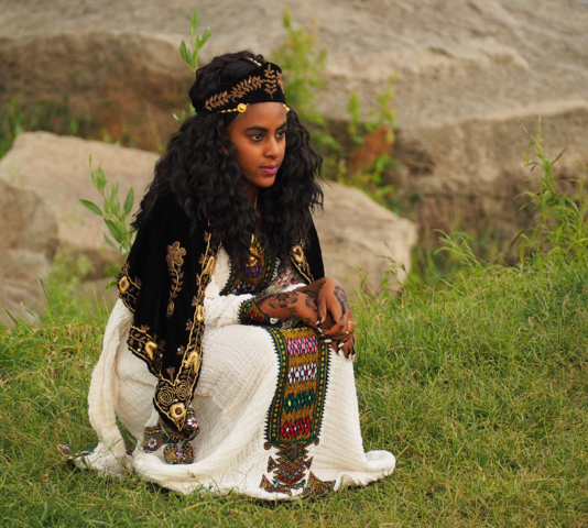 The bride poses for a wedding photo in Axum, northern Ethiopia.