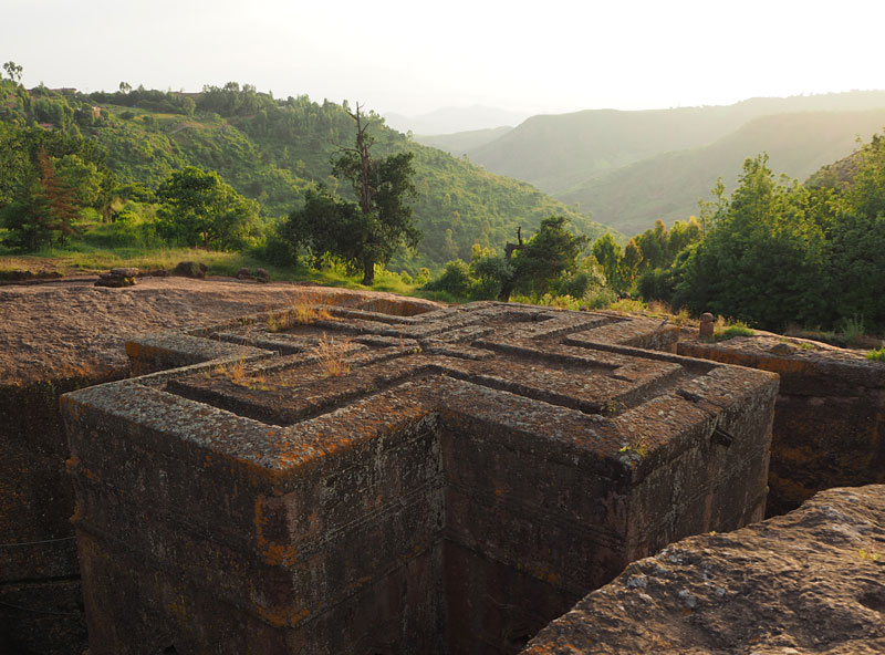 The 12th century Bete Giyorgis (Church of St George) in Lalibela was carved from solid rock in the shape of a cross.