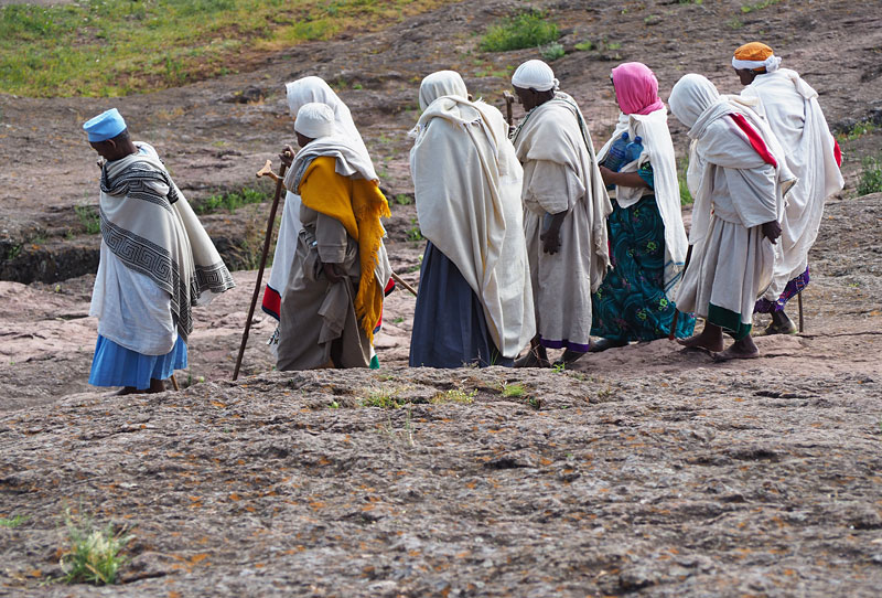 Pilgrims leave a church service in Lalibela, northern Ethiopia.