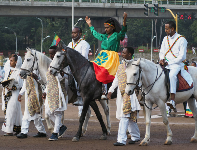 A woman on horseback represents St Helena, known as Queen Eleni in Ethiopia.