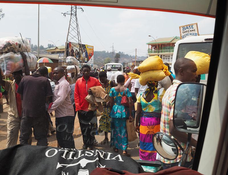 View from a moving bus at Nyabugogo station, Kigali.