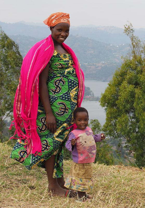 Woman and child at Lake Kivu, near Gisenyi.