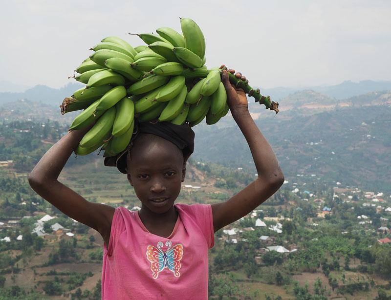 Boy with bananas near Gisenyi.