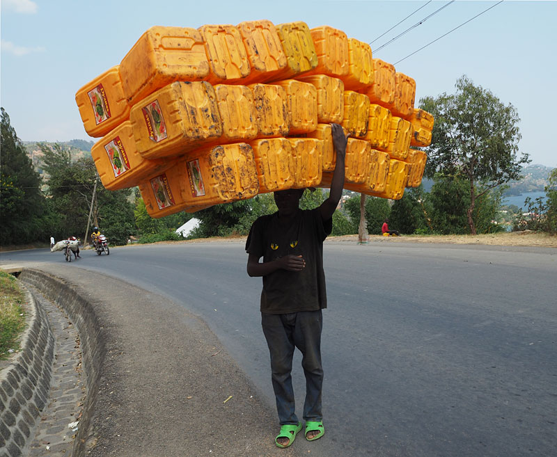 There's almost no limit to how much Rwandans can carry on their heads.