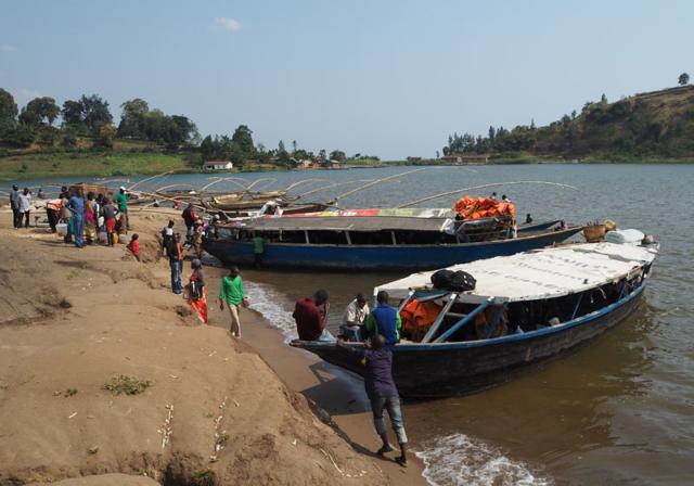 Ferries prepare to cross Lake Kivu.