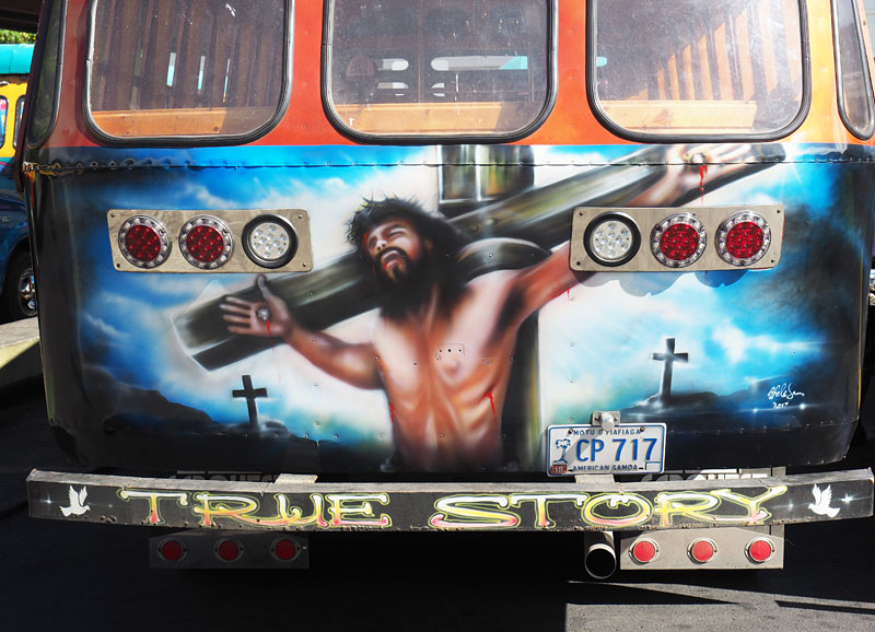 Jesus on the back of an 'aiga (family) bus.