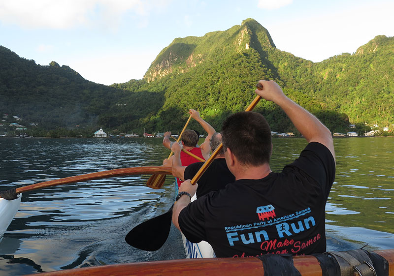 Members of Le Vasa Outrigger Canoe Club paddle on Pago Pago Harbour.