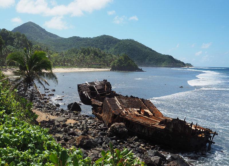 A shipwreck in eastern Tutuila, near Alega village.