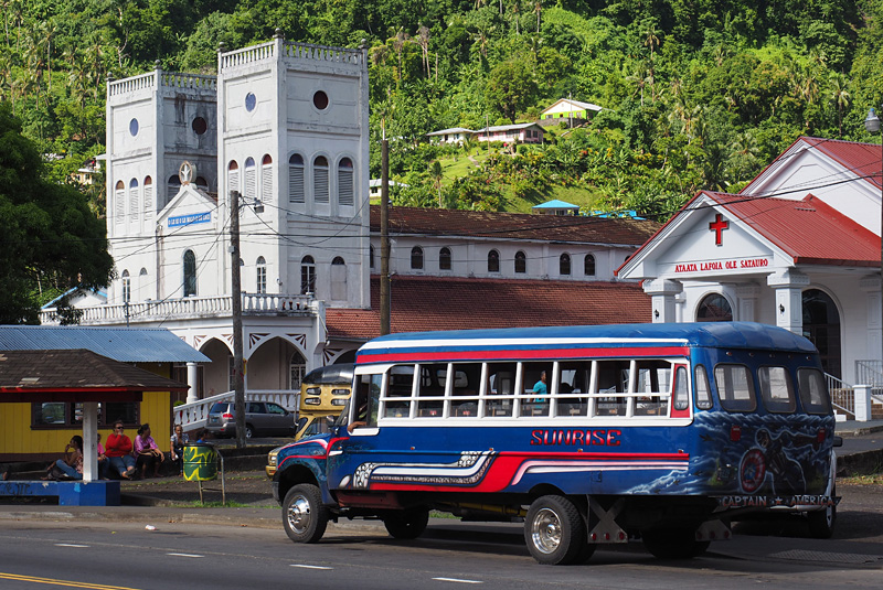 Brightly painted 'aiga buses are the best way to get around in American Samoa