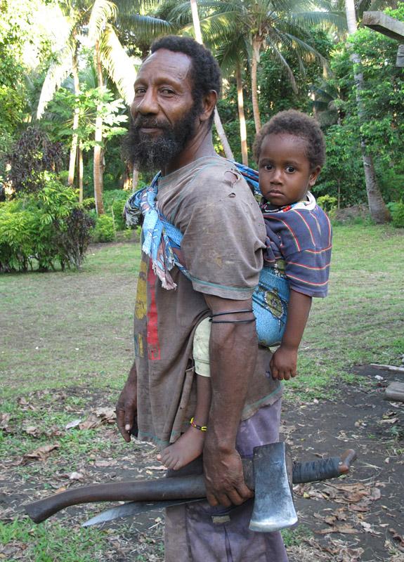Bongo and son in a village on Ambrym Island