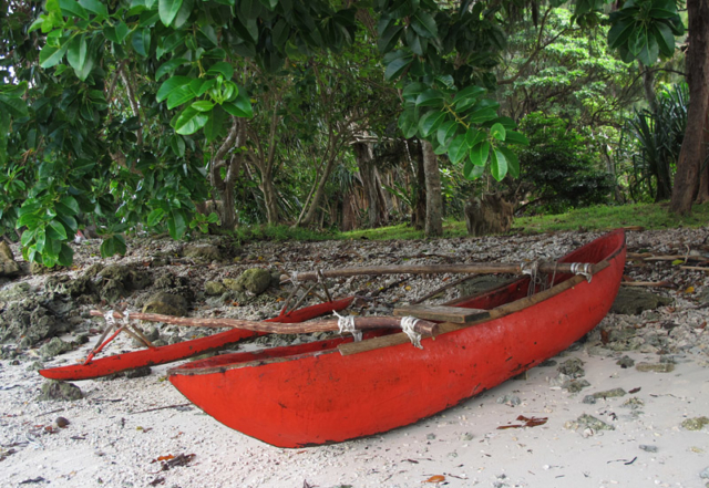 Outrigger canoe on a beach on Efate Island