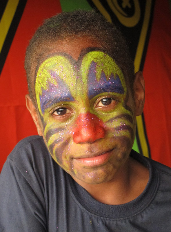 A Ni-Vanuatu boy shows off his facepaint during independence day celebrations in Port Vila
