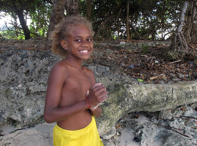 Ni-Vanuatu girl on a beach on Efate Island
