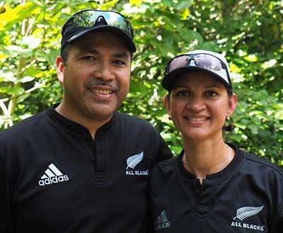 All Blacks fans Manaia and Laurie Fruean