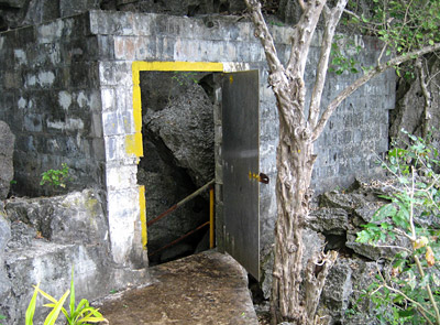 Entry to the first cave is via a door in the side of the island