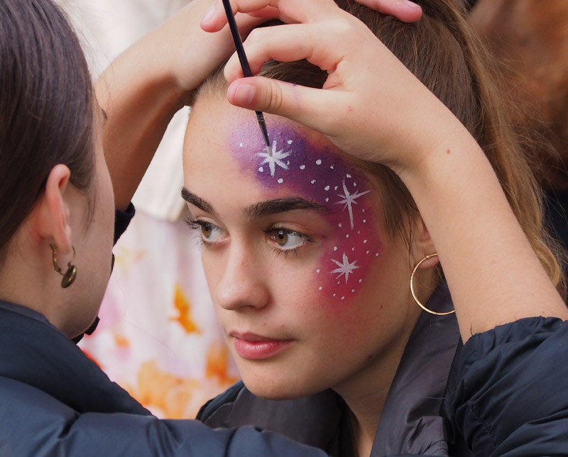 Kayla, 13, gets her face painted during Oromahoe School's Light Festival