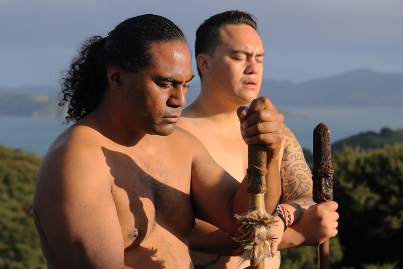 Warriors Mukai Hura and Isaiah Apiata during a history-making flagpole reconciliation ceremony in Russell.