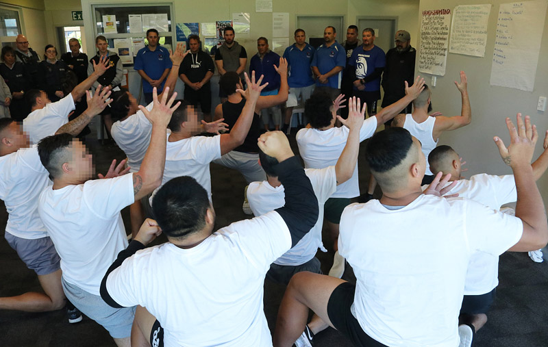 Ngāwhā Prison inmates perform a rousing haka for their police opponents after a volleyball tournament.