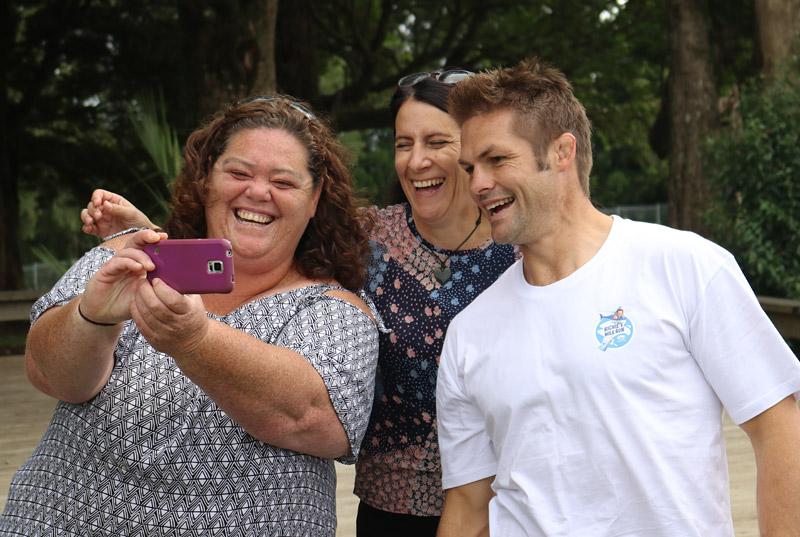 Okaihau Primary School teachers sneak a selfie with All Blacks captain Richie McCaw