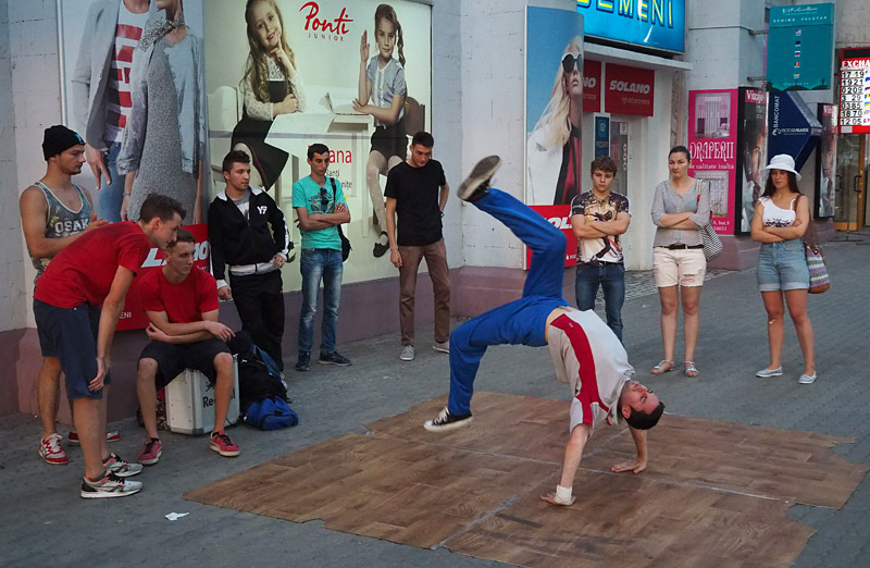 Young men practise their breakdancing moves in Chișinău, Moldova's capital
