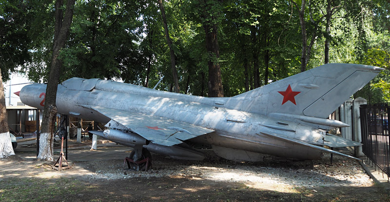 A Mig jet fighter in the courtyard off a museum in Chișinău, Moldova's capital