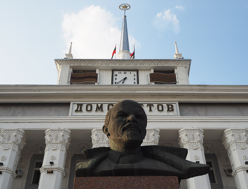 Lenin keeps watch over the city of Tiraspol from his plinth in front of the House of Soviets