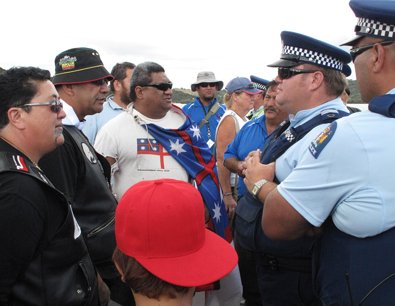 A confrontation on the bridge leading to the Treaty Grounds