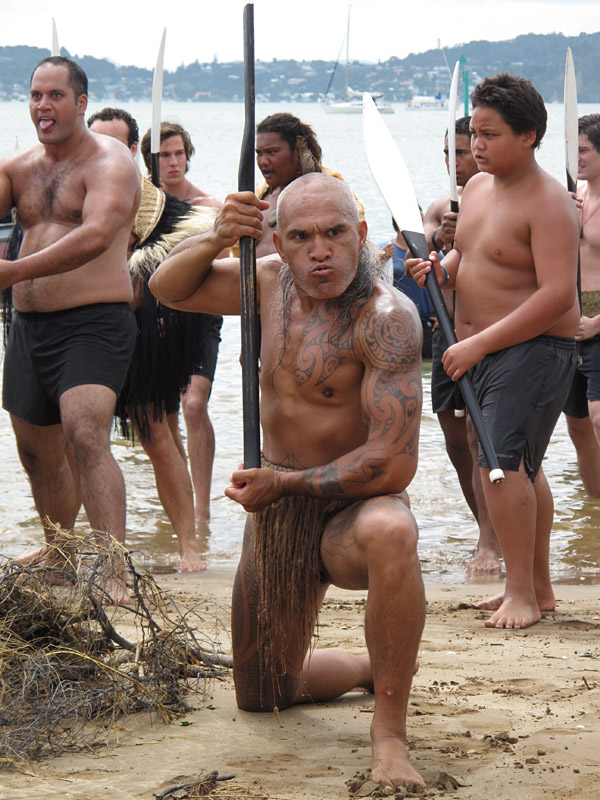 Piripi Mihaka performs a haka on Tii Beach