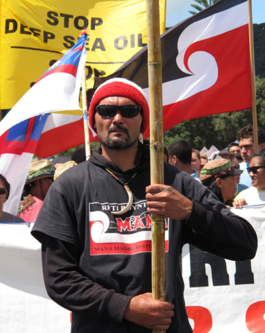 Reti Boynton leads a hīkoi (march) against deep-sea oil drilling.