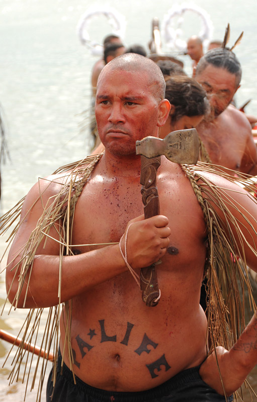 A warrior after the mass haka on Tii Beach