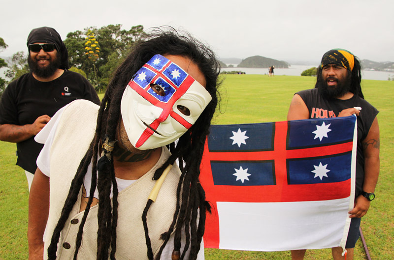 James Tahere and friends travelled hundreds of kilometres to protest the TPP