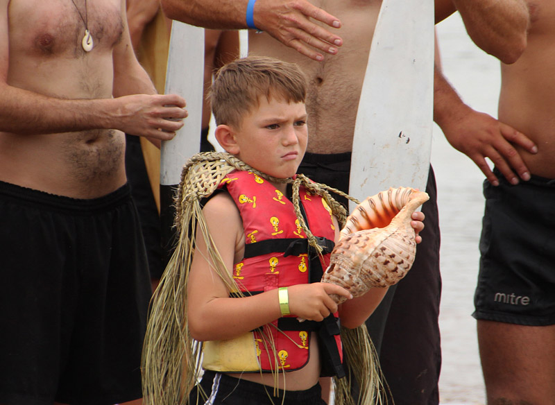 Five-year-old Manawa Kaha prepares to board the great waka Ngātokimatawhaorua