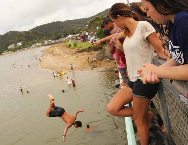 Doing 'bombs' off the bridge is an unmissable Waitangi tradition