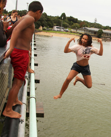 Maybel Koro jumps off Waitangi Bridge.