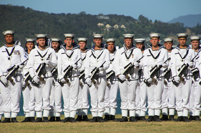 Royal NZ Navy sailors parade at the Treaty Grounds
