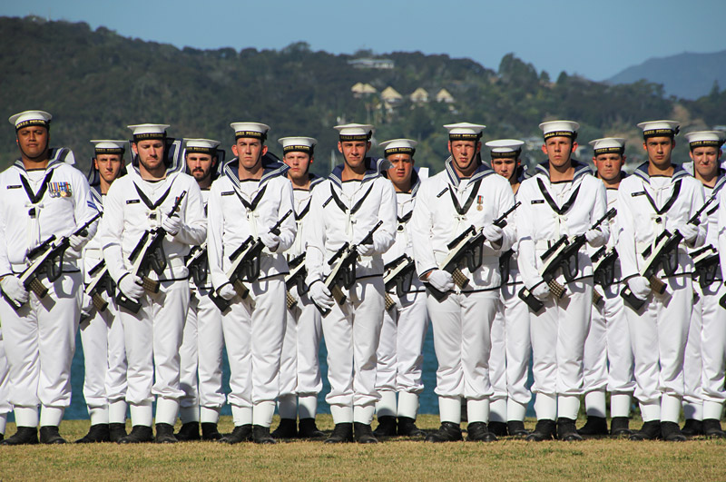 Royal NZ Navy sailors parade at the Treaty Grounds