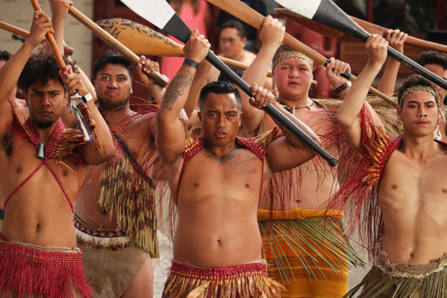 Kaihoe (paddlers) perform a haka powhiri to welcome new Prime Minister Jacinda Ardern