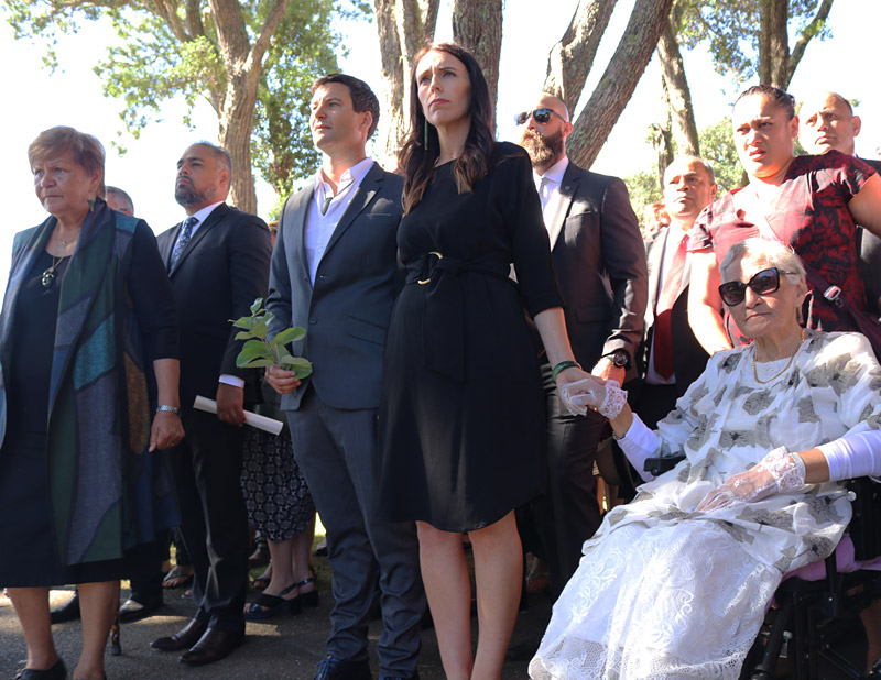 New Prime Minister Jacinda Ardern, with partner Clarke Gayford and Ngāpuhi matriarch Titewhai Harawira, is welcomed to the Treaty Grounds