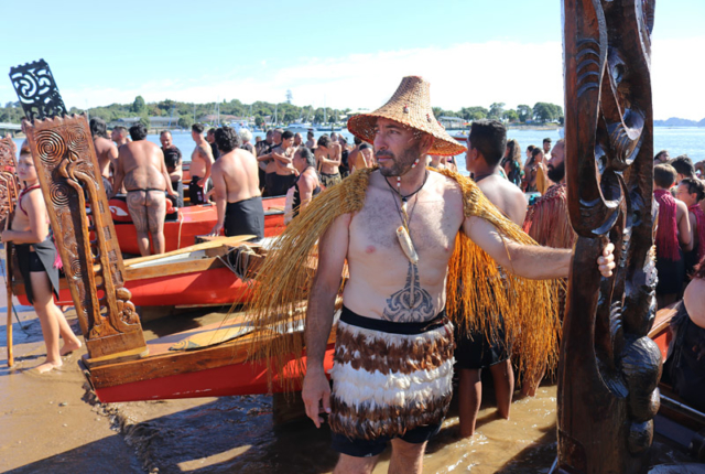 Jef Murupaenga-Ikenn awaits the haka after landing the waka Kahakura