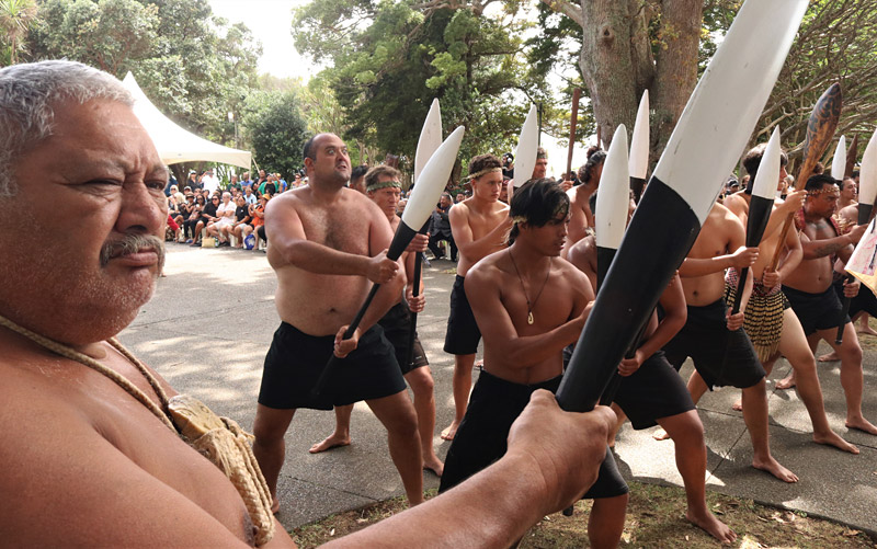 Kaihoe (paddlers) perform a haka powhiri to welcome Governor-General Dame Patsy Reddy