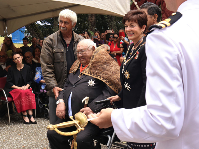 The newly knighted Sir Hekenukumai Puhipi with Governor-General Dame Patsy Reddy