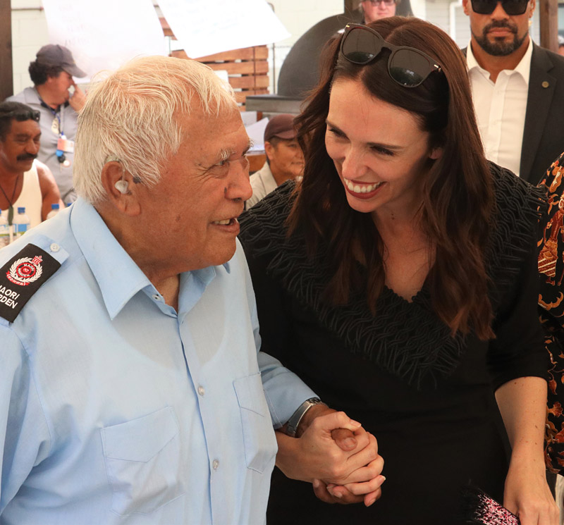 Prime Minister Jacinda Ardern with Henare Hape, Northland's oldest Māori warden