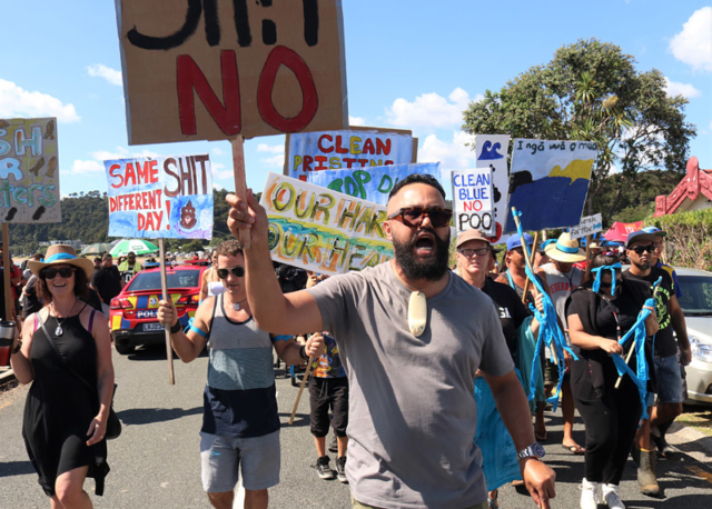 Godfrey Rudolph leads a protest against pollution of Hokianga Harbour