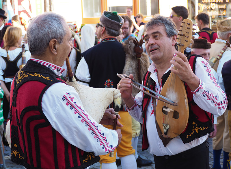 Greek musicians practising during the 20i6 bagpipe festival